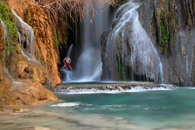 Jumping into Navajo Falls