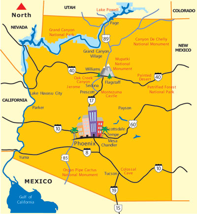 Arizona Map State Of Arizona Maps AZ Destinations - City map of arizona