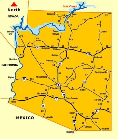 Map Of Arizona To Mexico.Arizona Distance Map Driving Distance Map