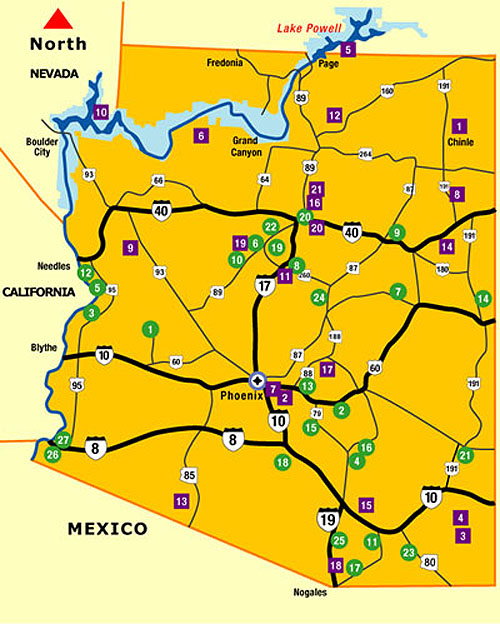 Arizona Points Of Interest Map.Arizona State Parks National Parks In Arizona Map Locations