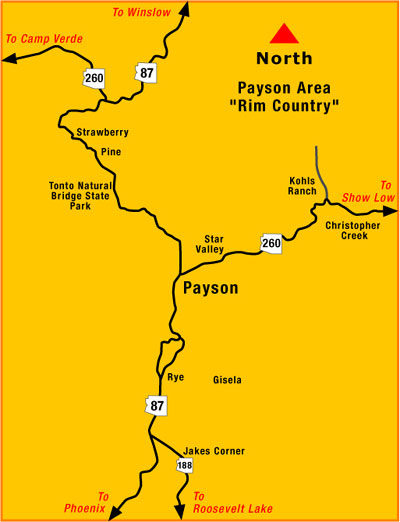 Payson arizona map directions to payson az payson arizona map directions of how to get to payson publicscrutiny Images