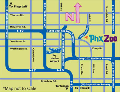 Phoenix Zoo at Papago Park in Phoenix  Map Directions