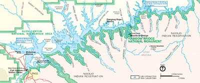Map of the Rainbow Bridge National Monument