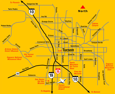 Arizona Points Of Interest Map.Tucson Area Map