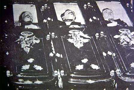 Photo of Bodies of Tom Mclaury, Frank McLaury and Billy Clanton
